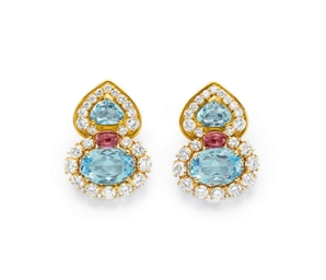 A PAIR OF DIAMOND, TOPAZ AND T