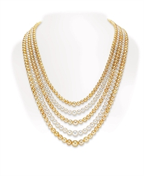 A MULTI-STRAND PEARL NECKLACE