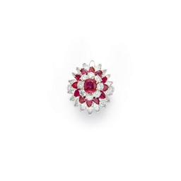 A DIAMOND AND RUBY RING, BY VA