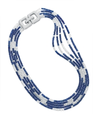 A DIAMOND AND SAPPHIRE NECKLAC