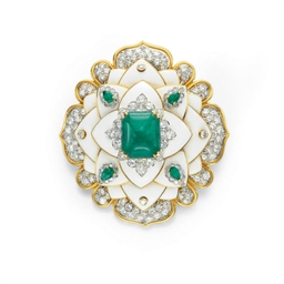 AN EMERALD, DIAMOND AND ENAMEL