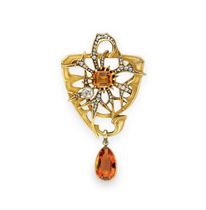 AN ART NOUVEAU CITRINE, DIAMOND AND GOLD PENDANT BROOCH, BY LEON GARIOD