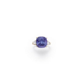 A VIOLET SAPPHIRE AND DIAMOND