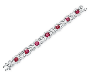 AN ART DECO DIAMOND AND RUBY B