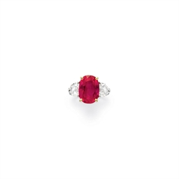 A RUBY AND DIAMOND RING, BY FR