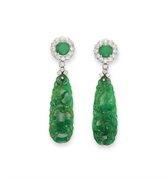 A PAIR OF JADEITE AND DIAMOND