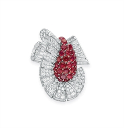 A RETRO RUBY AND DIAMOND CLIP