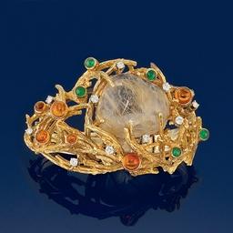 A diamond, emerald, citrine an