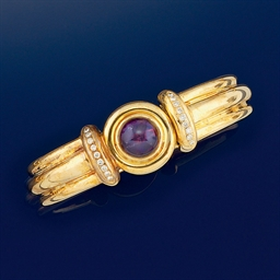 An amethyst and diamond bangle