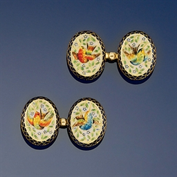 A pair of gold and enamel cuff
