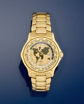 "An 18ct. gold automatic, world time ""Voyager"" wristwatch, by Ebel"