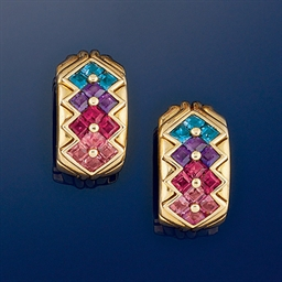 A pair of 18ct. gold and gem