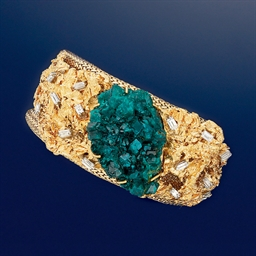 An 18ct. gold, dioptase and di