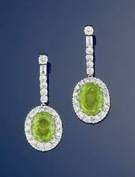 A pair of peridot and diamond