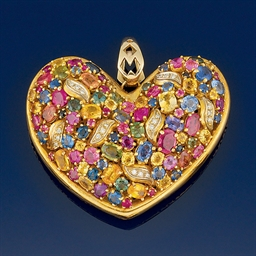 A multi-gem and diamond pendan