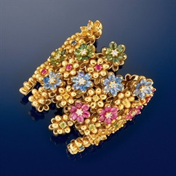 A multi-gem and diamond bangle