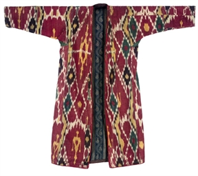 A SILK AND COTTON IKAT CHAPAN