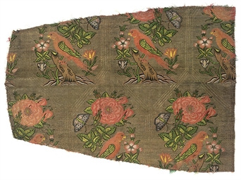 A PANEL OF SALMON PINK SILK BR