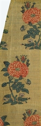 A PANEL OF GOLD GROUND SILK