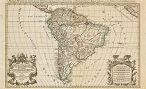 SANSON - JAILLOT. Amérique méridionale divisée en ses principales parties ou sont distingués les uns des autres les estats suivant qu'ils appartiennent aux François, Castillans, Portugais, Hollandois, &c. Paris: Jaillot, 1691. Grande carte gravée (610 x 965 mm) partiellement coloriée à l'époque. Deux cartouches dans les angles en bas, celui à gauche avec le titre et orné des armoiries du dauphin et d'Indiens, à droite la table des conversions des distances. Non examinée en dehors du cadre.