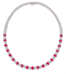 A DIAMOND AND RUBY COLLAR NECK