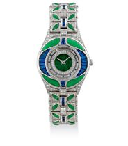A JADE AND GEM-SET WRISTWATCH, BY MAUBOUSSIN
