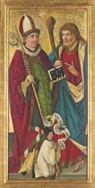 Saints Severus and Simon with a kneeling clerical donor - a panel from an altarpiece