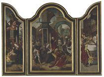 A triptych: central panel: The Adoration of the Magi; wings: The Adoration of the Shepherds; and The Presentation in the Temple