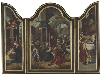 A triptych: central panel: The