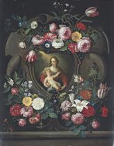The Virgin and Child, in a sculpted cartouche, surrounded by garlands of roses, tulips, carnations, lillies and other flowers