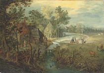 A river landscape with cottages, figures and cattle on a bank