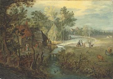 A river landscape with cottage