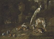 Three deer, a peacock, rabbits, and guinea pigs in a wooded landscape, with classical statuary and arches beyond