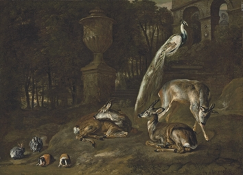Three deer, a peacock, rabbits