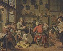 The interior of a cobbler's shop