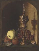 Grapes, a pear, an apple, a lemon, oysters and a silver-gilt cup in a stone niche