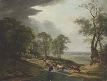 An extensive wooded, river landscape, with cattle watering in the foreground