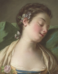 A sleeping lady, bust-length