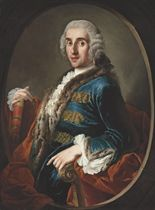 Portrait of a gentleman, half-length, in a fur-trimmed and gold-embroidered blue satin coat, holding a book, in a sculpted oval