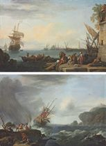A Mediterranean harbour with sailors loading a boat, a Genoese man-of-war; and A British man-of-war in rough seas