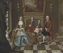 A group portrait of a family, traditionally identified as the Roubel family, in an elegant interior