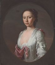 Portrait of Miss Christian Campbell, half-length, in a white dress and a pink mantle, with pearl clasps, in a feigned oval