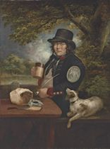 Portrait of a Waterman in the service of the Earl of Altamont, half-length, in uniform, seated at a table, holding a mug and pipe, with a dog at his side