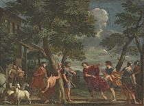 The infant Paris discovered by the shepherds of Mount Ida