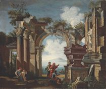 An architectural capriccio with classical ruins and figures