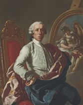 Portrait of the artist, three-quarter-length, seated, holding a pencil, at an easel with a picture of Minerva