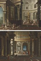 A capriccio of the interior of a temple with a scene of sacrifice to Jupiter; and A capriccio of the interior of a temple with a scene of sacrifice