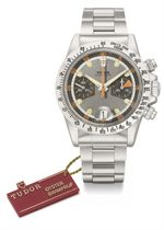 Tudor. A rare and attractive stainless steel chronograph wristwatch with date, bracelet, vari-coloured dial, tag and box
