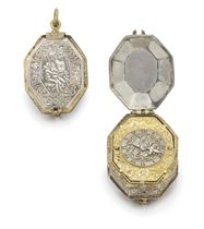 Bernard. A rare and early gilt brass and silver octagonal pre-balance spring verge watch