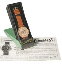 Eberhard. A fine and unusual oversized 18K gold hinged chronograph wristwatch with pink dial, original box and contemporary leaflet